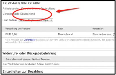 Bild von ebay.ch - kein Versand in die Schweiz