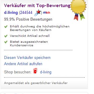 Verkäuferinformation LED TV WOW auf ebay.ch