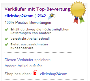 Verkäuferinformation Stück Glück ebay.ch